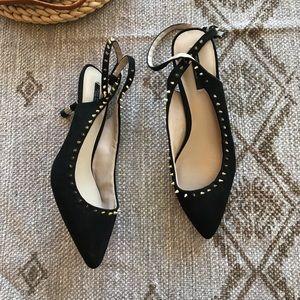 Zara Shoes - Zara black studded pointed toe kitten heels 39